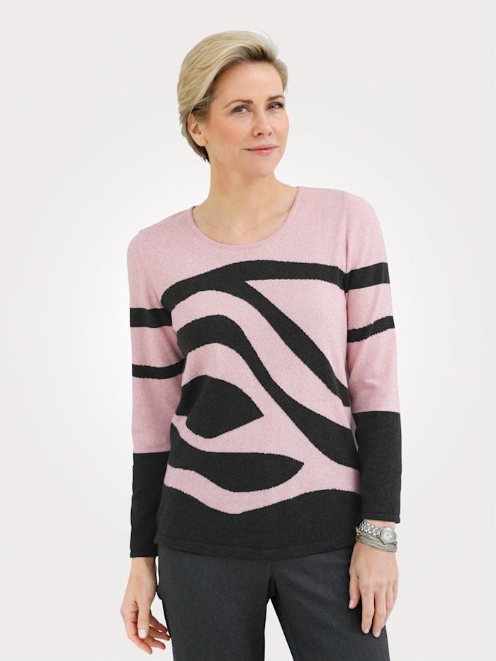 MONA Pullover aus reiner Baumwolle, Anthrazit/Rosé