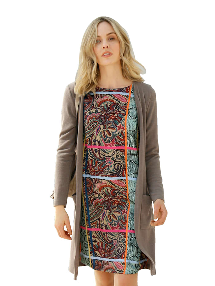 AMY VERMONT Strickjacke in offener Form, Taupe