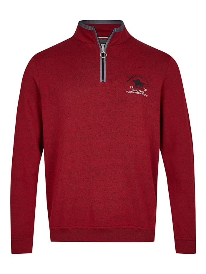 Hajo Sweatshirt in Tweed-Melange, rot