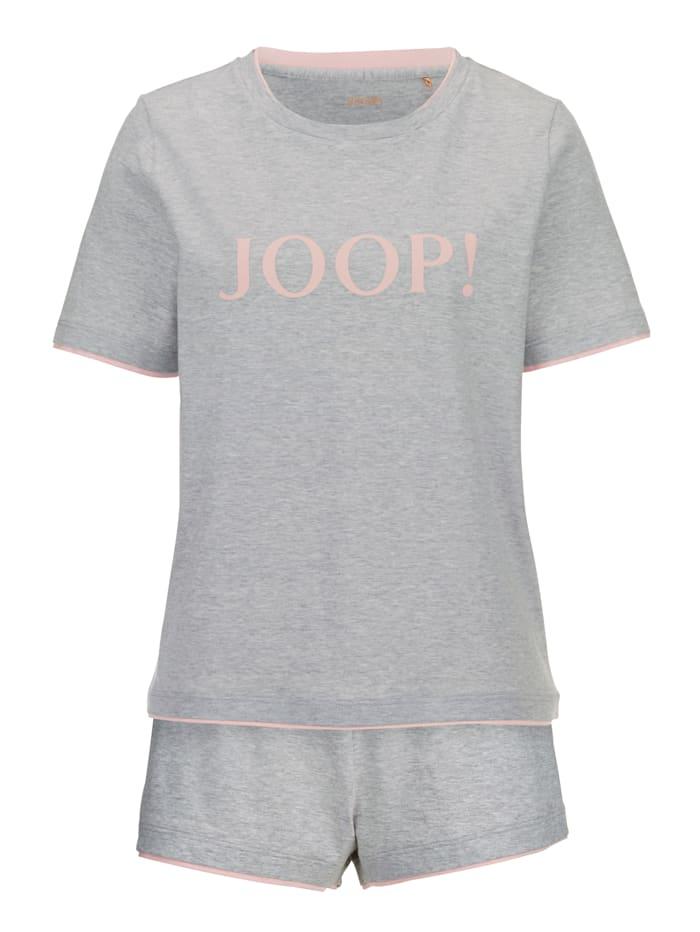 JOOP! Shortama met trendy opschrift, Grijs/Roze