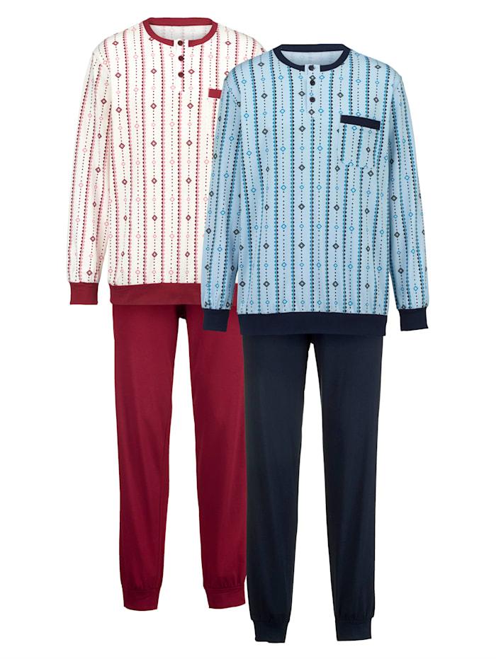 Roger Kent Pyjama, Bordeaux/Bleu ciel