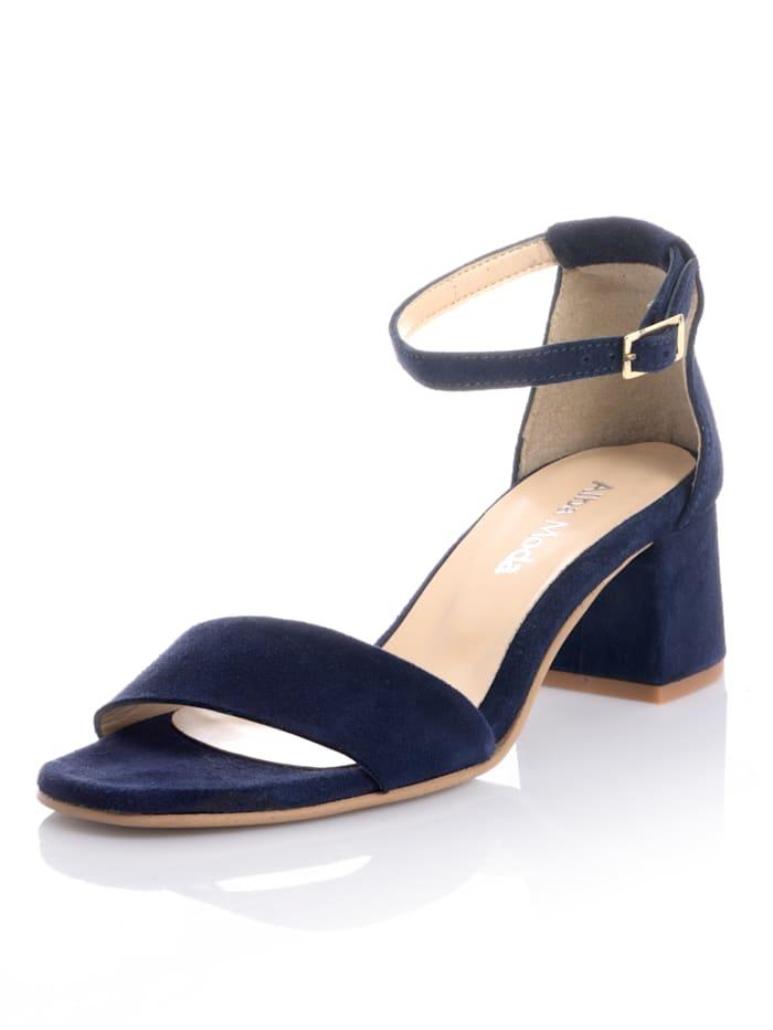 Alba Moda Sandalette aus Veloursleder, Marineblau