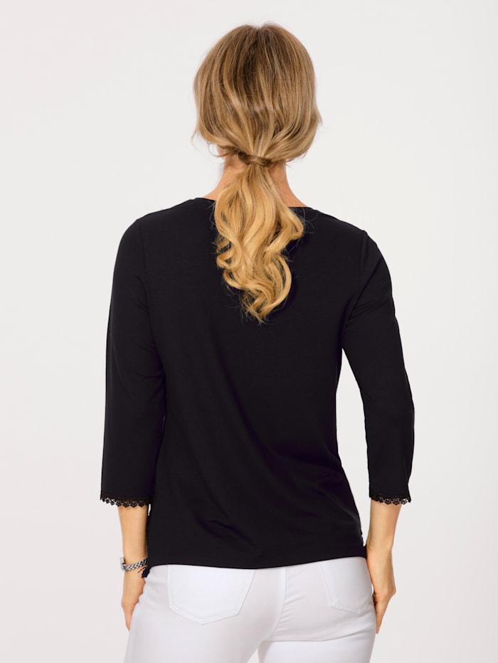 Shirt im eleganten Material-Mix