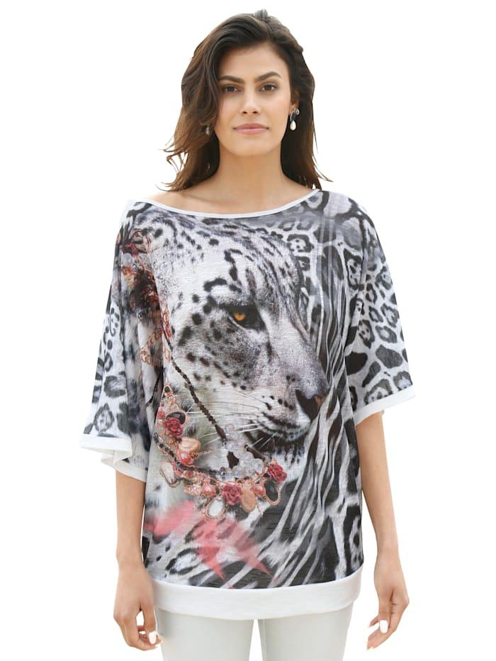 AMY VERMONT Shirt mit Animalprint, Schwarz/Weiß/Rosé