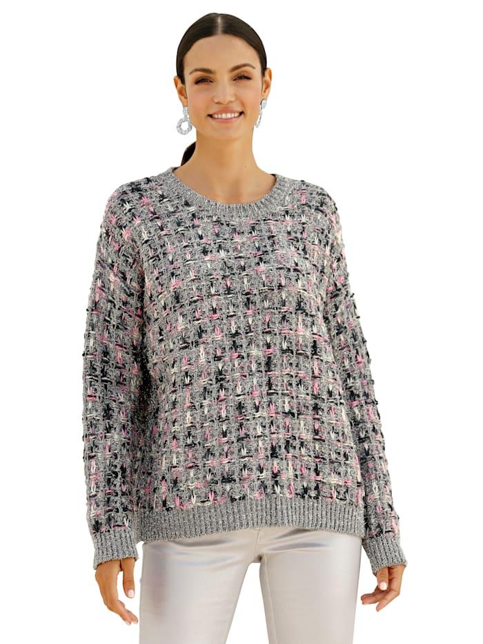 Pullover mit silberfarbenen Lurex-Fäden allover