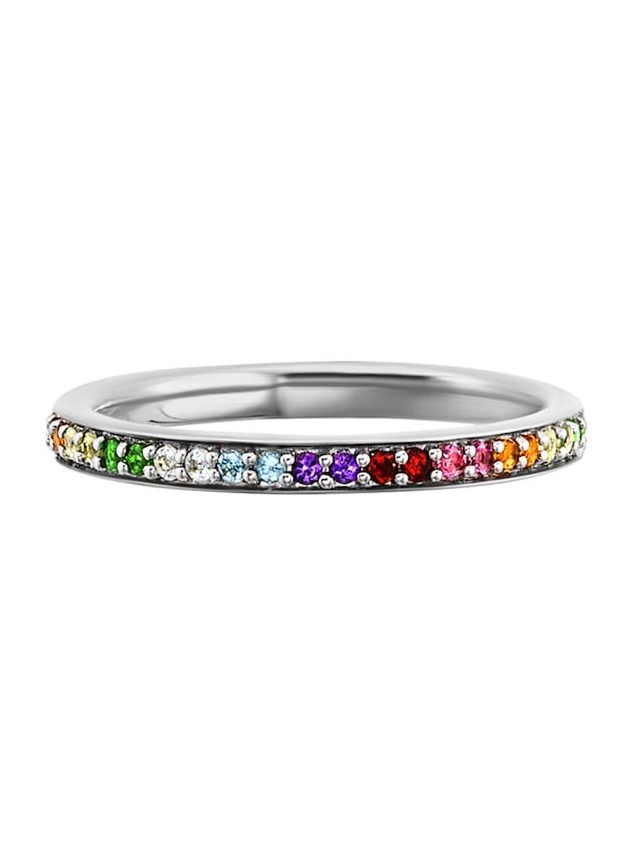 CAI Ring 925/- Sterling Silber Granat bunt Glänzend 0,010ct/pc. 925/- Sterling Silber, weiß