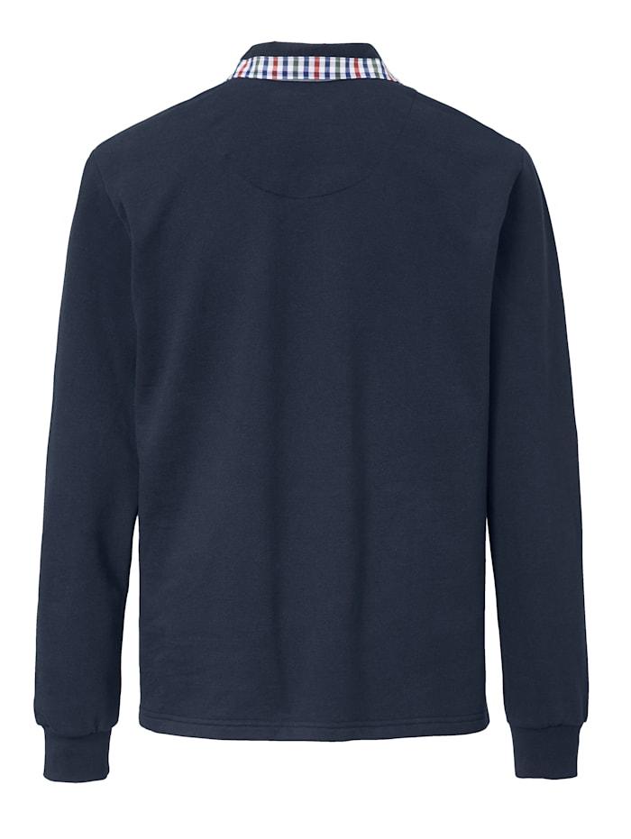 Sweatshirt met geruit beleg van weefstof