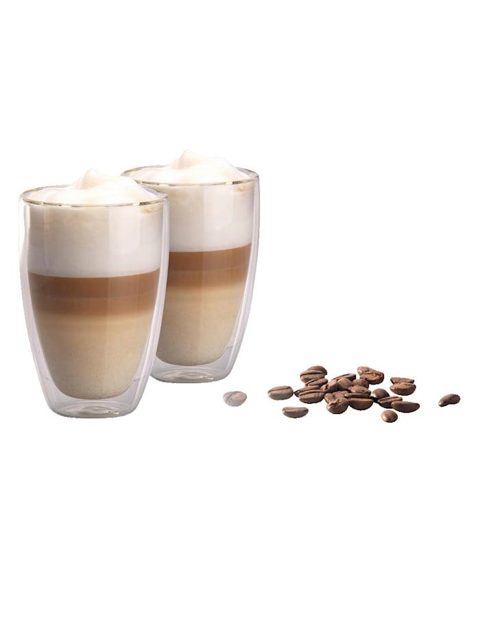 HELU Set van 2 latte macchiatoglazen, transparant