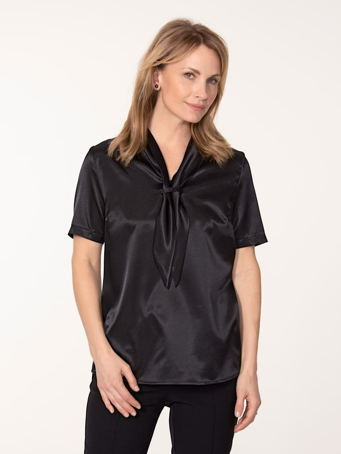 MONA Bluse aus elastischem Satin, Schwarz