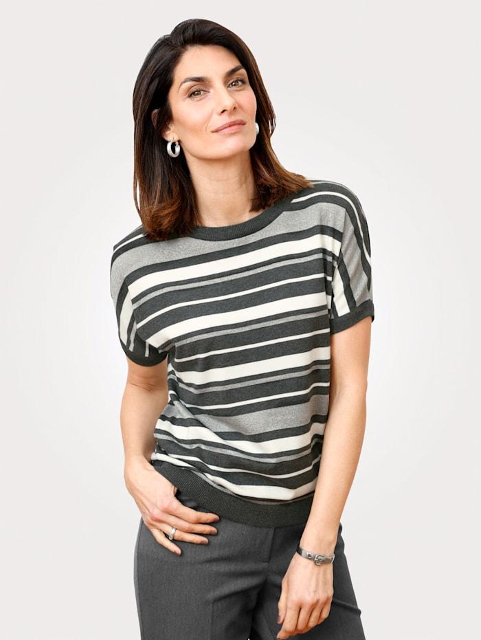 MONA Pullover mit Glanzgarn, Grau/Weiß/Silberfarben