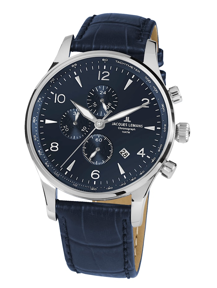 Jacques Lemans Herrenuhr-Chronograph SERIE LONDON 1-1844ZC, Blau