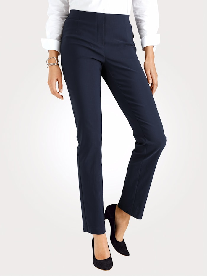 MONA Pull-on trousers made from a soft stretch fabric, Navy