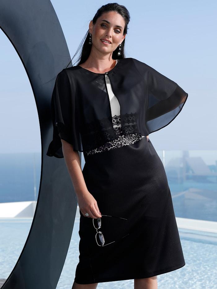 MIAMODA Cape en tissu léger et agréable, Noir