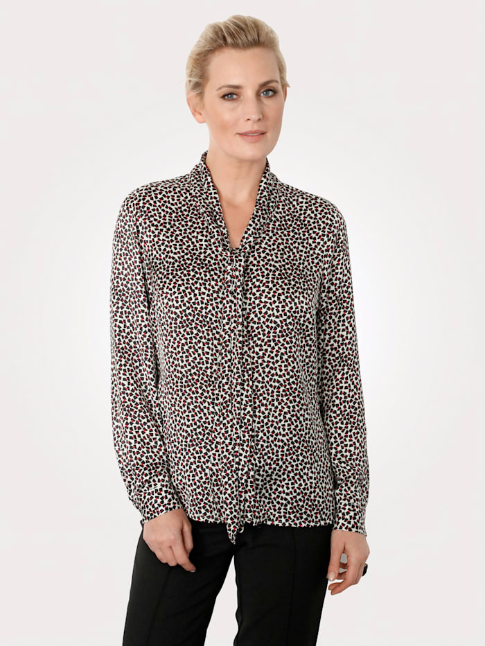 Tie neck blouse made from soft satin