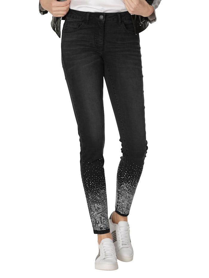 AMY VERMONT Jeans mit Glitzer am Saum, Anthrazit