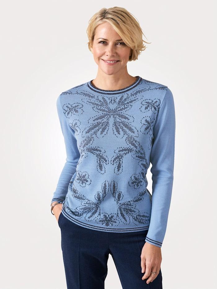 DiStrick Jumper Fine floral jacquard fabric, Blue/Navy