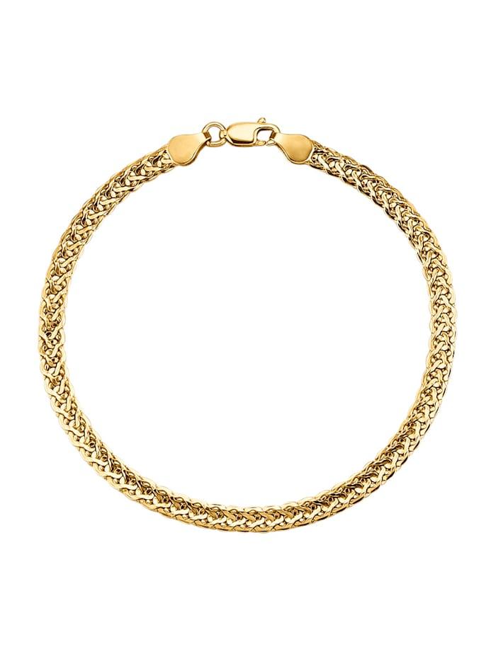 KLiNGEL Bracelet tressé en or jaune 375, Coloris or jaune