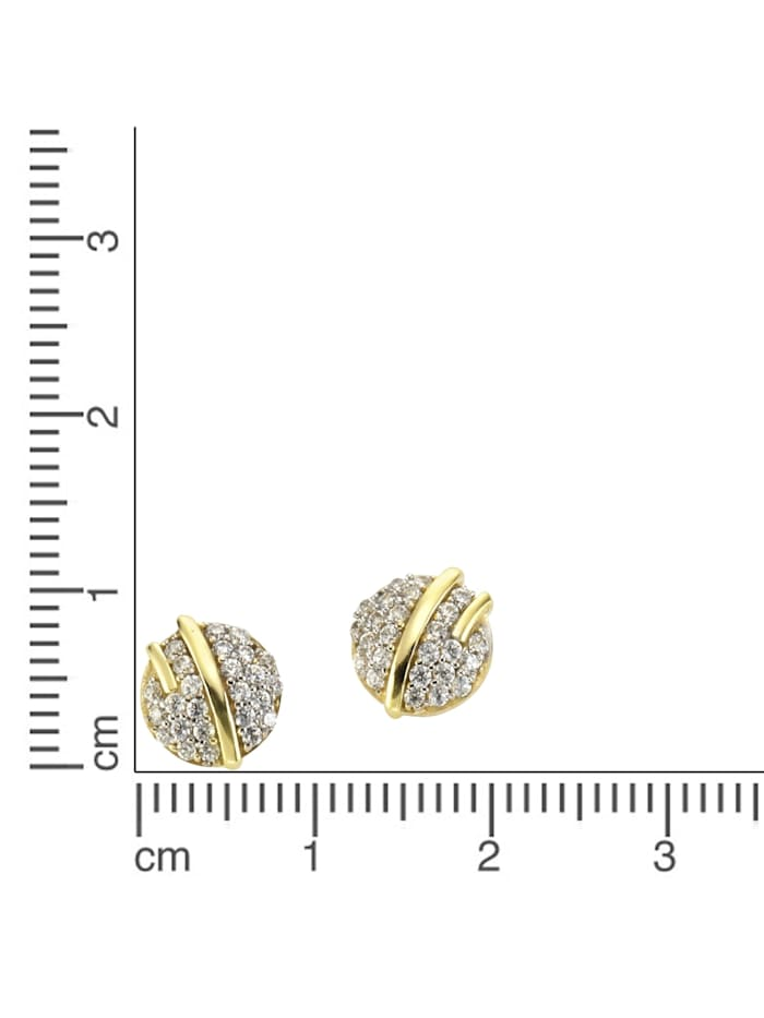 Ohrstecker 375/- Gold Zirkonia weiß 0,9cm Glänzend 375/- Gold