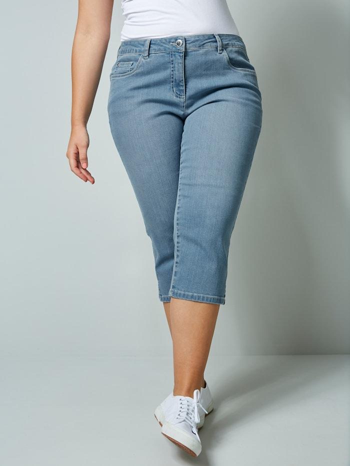 Janet & Joyce Corsaire en jean de coupe 5 poches, Blue bleached