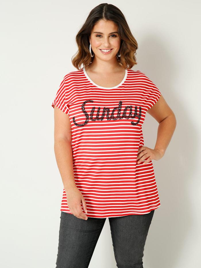 Sara Lindholm Shirt mit Schrift aus Pailletten, Rot/Weiß