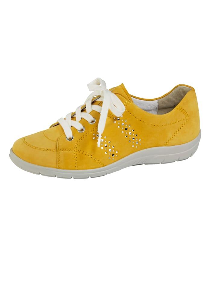 Naturläufer Schnürschuh aus hochwertigem Veloursleder, Gelb