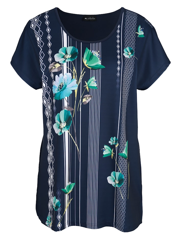 Shirt vorne mit floralen Motiven