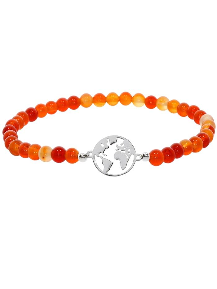 1001 Diamonds Weltkugel Karneol Armband 925 Silber 17 cm, orange