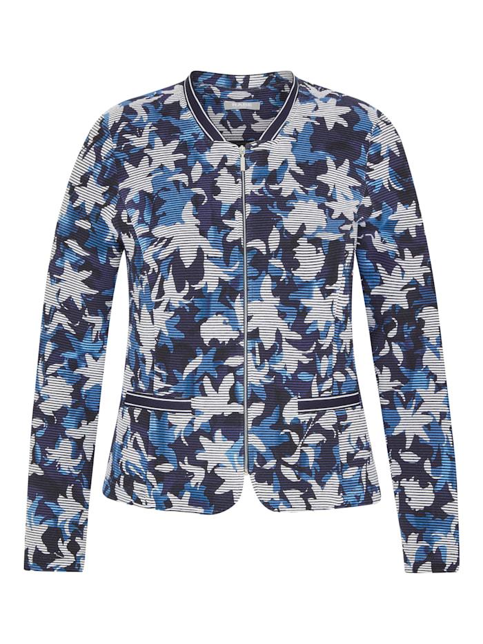 Rabe Jacke mit floralem Muster und Reißverschluss, MARINE
