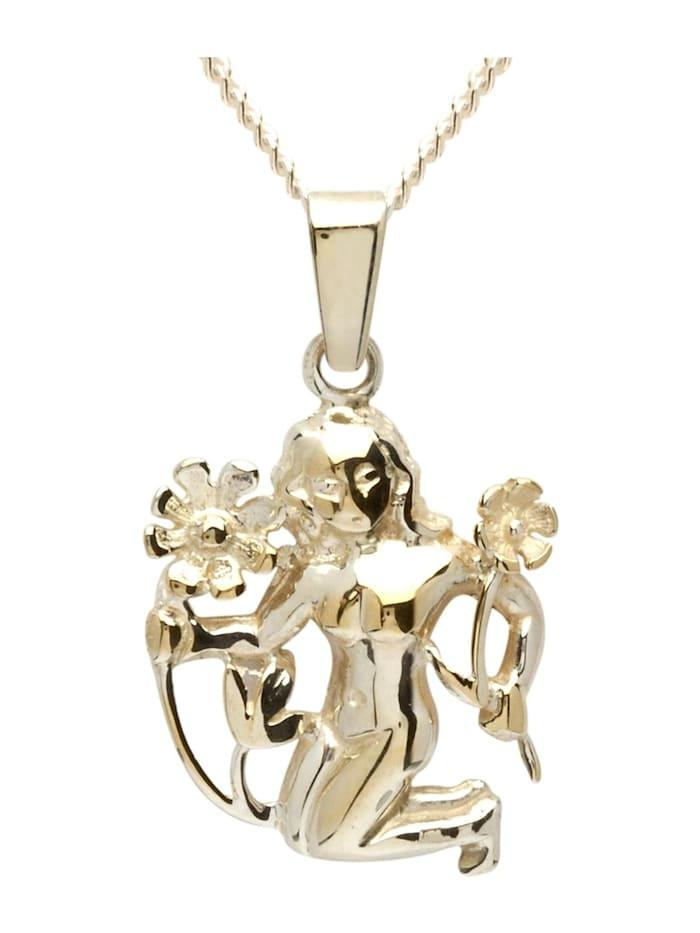 OSTSEE-SCHMUCK Kette mit Anhänger - Tierkreiszeichen Jungfrau - Gold 333/000 - ,, gold