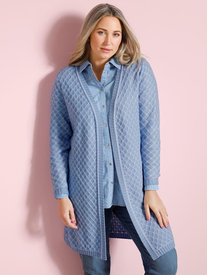 MIAMODA Vest met mooi structuurpatroon, Lichtblauw/Wit