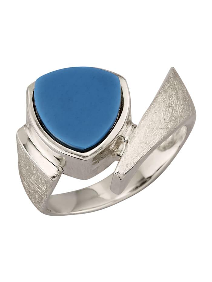Diemer Farbstein Damenring mit Lagenstein, Blau