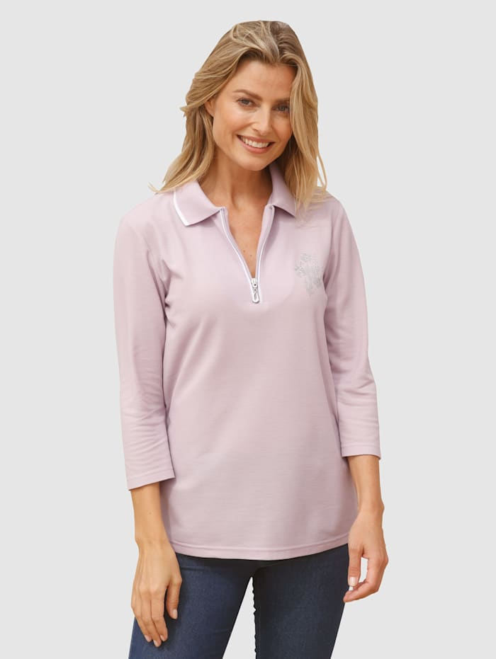 basically you Poloshirt mit Strasssteinchen Motiv, Lavendel