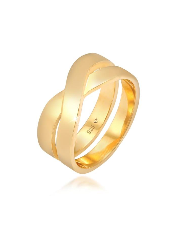 Kuzzoi Ring Herren Bandring Überkreuz Look 925 Silber, Gold