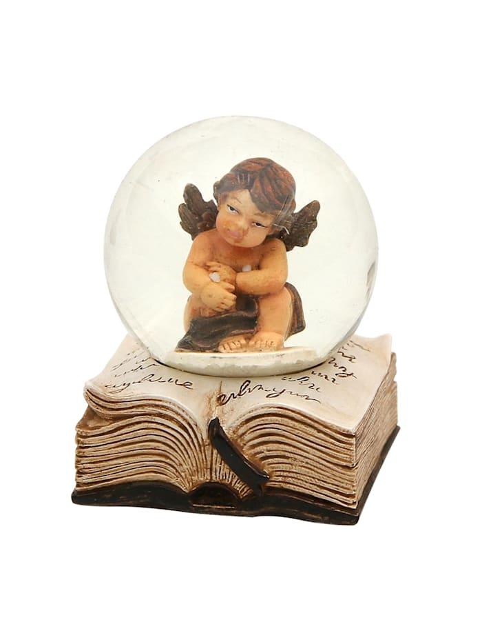 Sigro Schneekugel Engel auf Buch, Creme