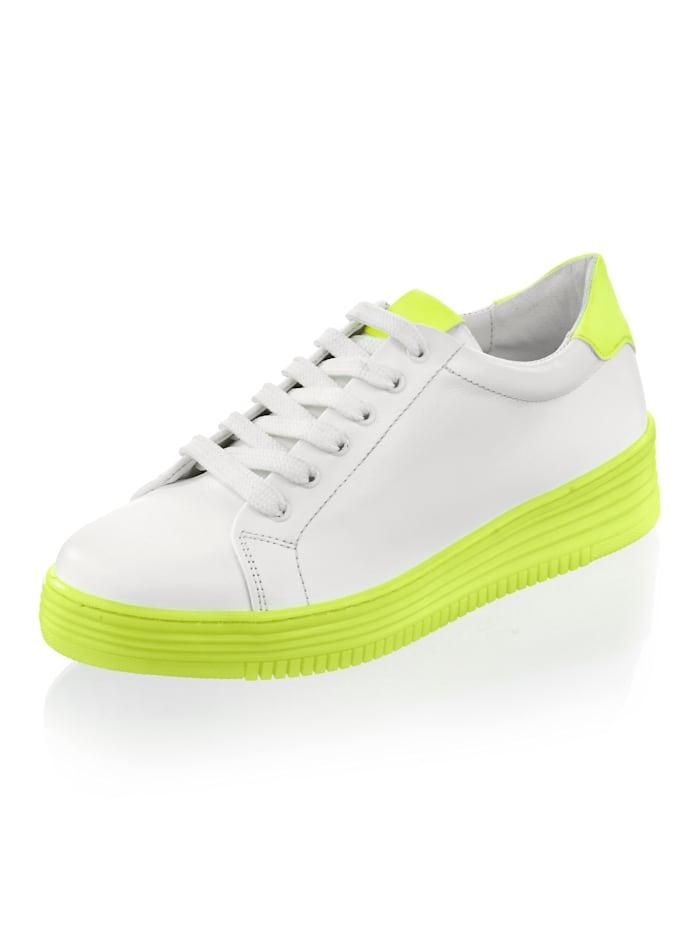 Alba Moda Sneaker met neonkleurige zool, Wit/Neongeel