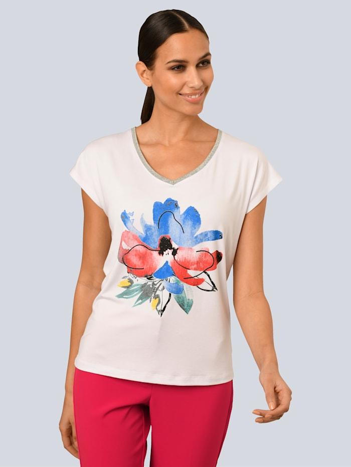 Alba Moda Shirt mit dezentem Glanzgarn, Weiß/Rot/Blau/Gelb