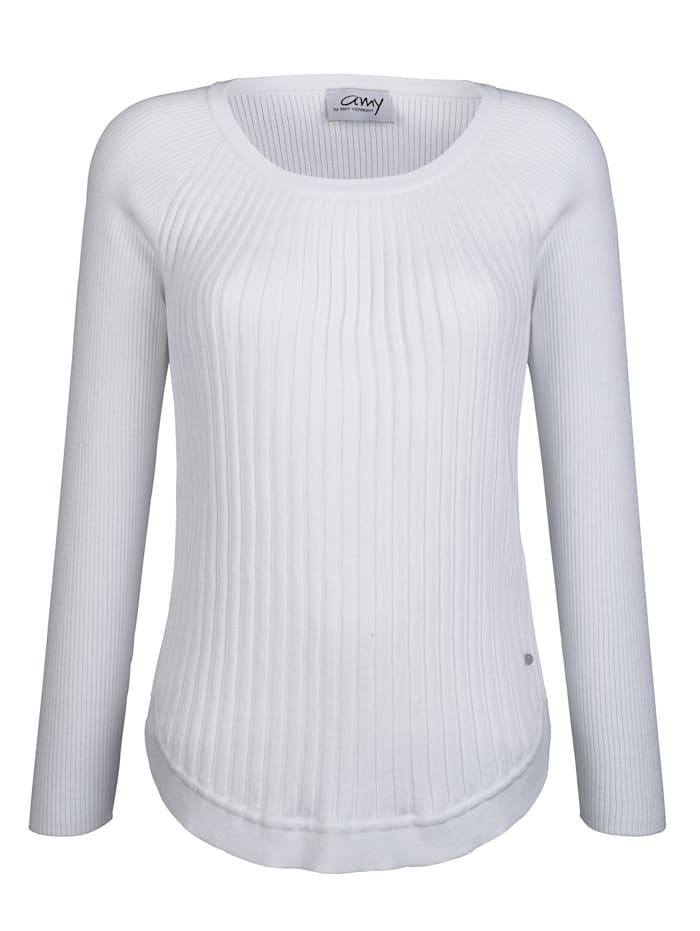 AMY VERMONT Pullover mit schönem Strickmuster, Weiß