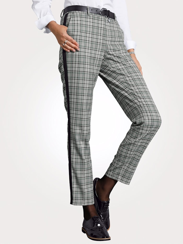 MONA Trousers with a stylish check pattern, Black/Green/White