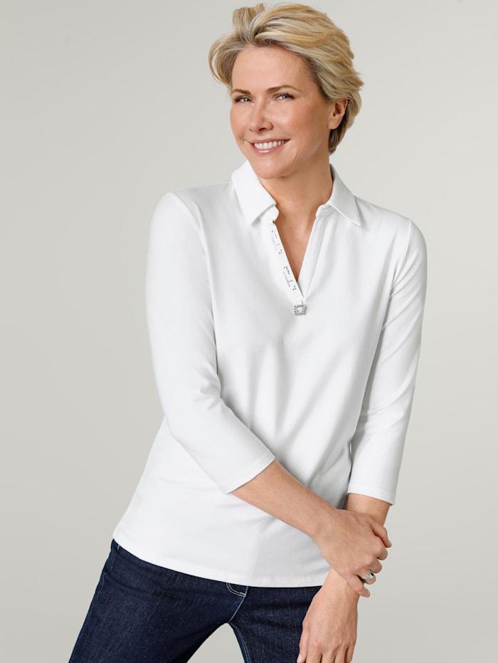 MONA Poloshirt mit Zierschnalle, Weiß
