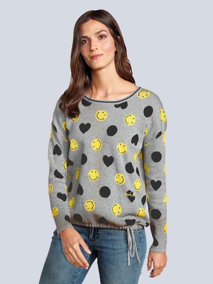 OUI Pullover mit Smileys, Grau