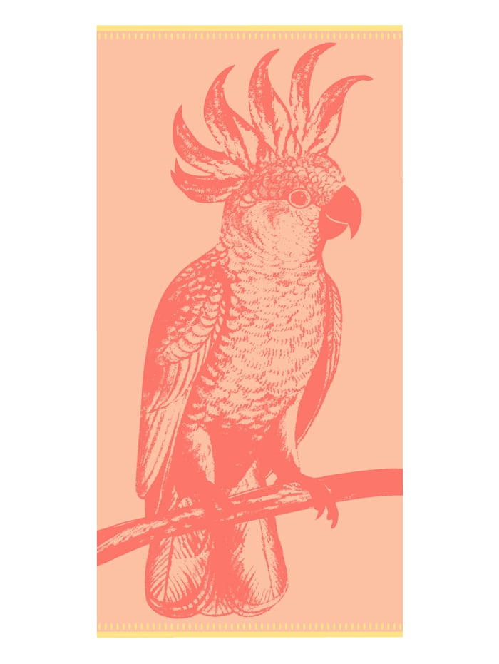 jilda-tex Strandtuch Velour 'Paradise Bird', Koralle