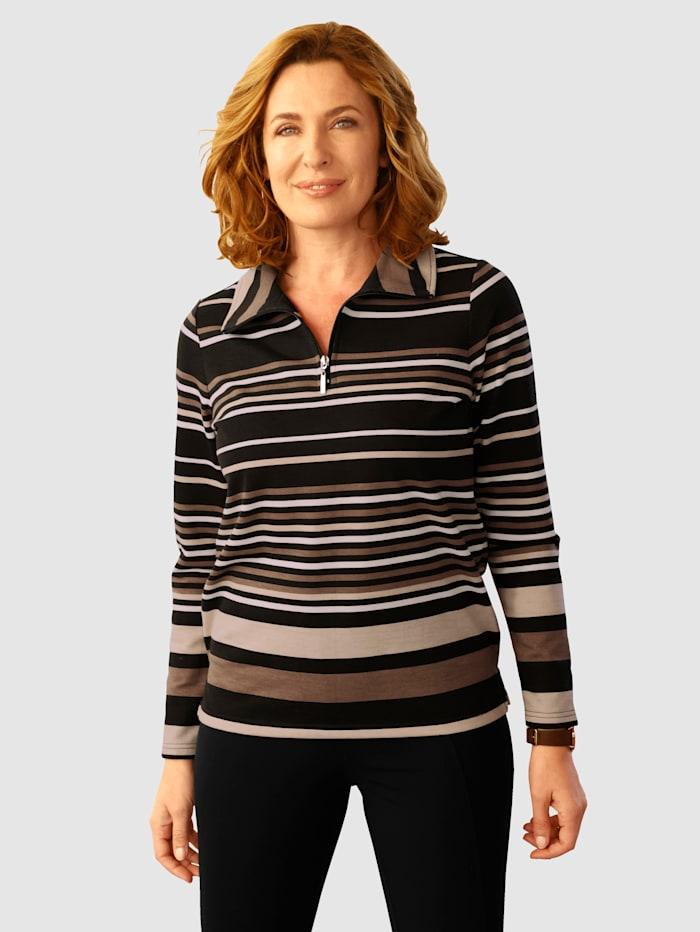 Paola Sweatshirt met streepdessin, Zwart/Lichtbruin