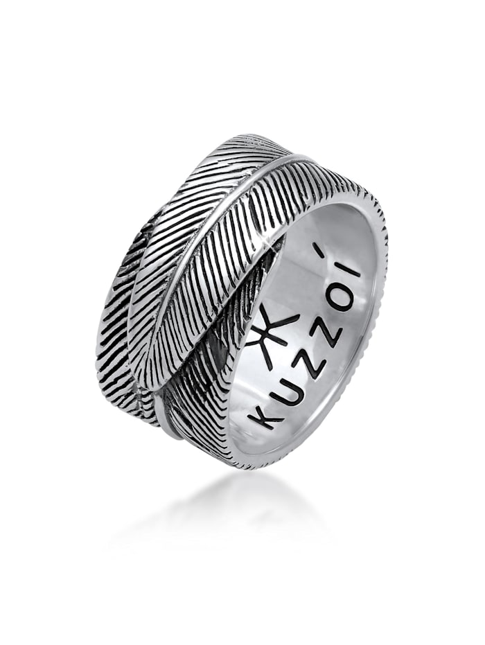 Kuzzoi Ring Herren Feder Vintage Trend Oxidiert 925 Silber, Silber