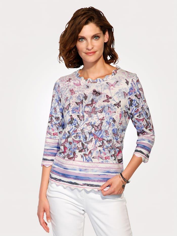 MONA Pullover mit Schmetterlingsdruck, Ecru/Flieder