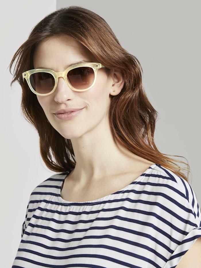 Tom Tailor Wayfarer Sonnenbrille mit getönten Gläsern, light yellow transparent