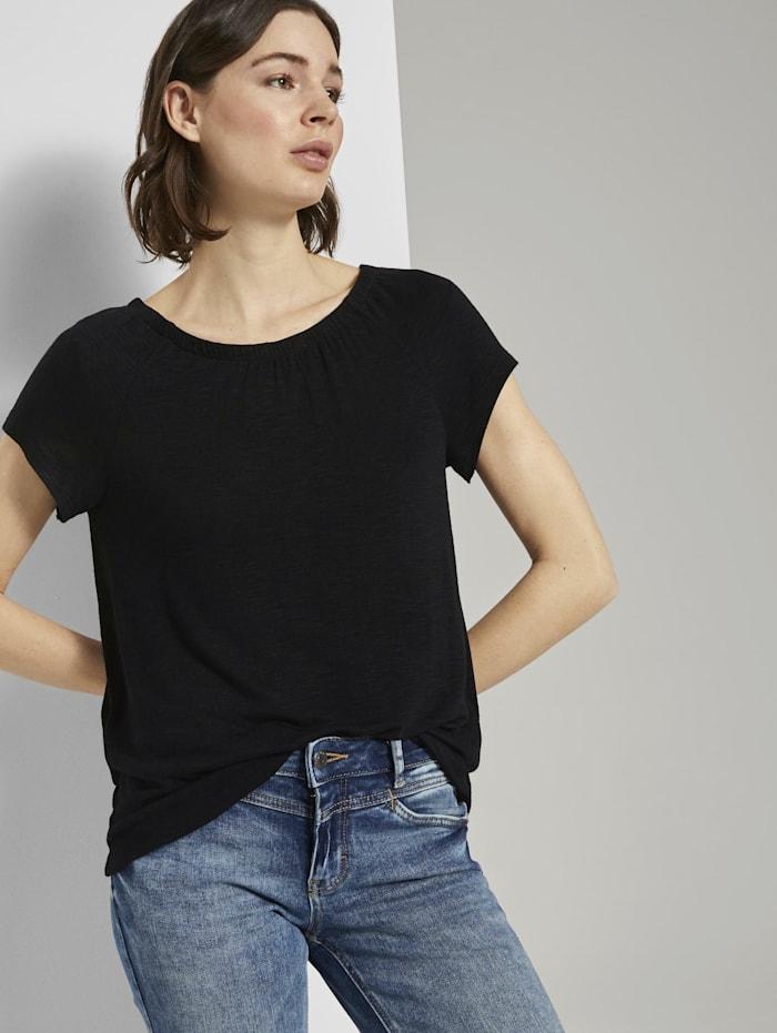 Tom Tailor Basic T-Shirt mit Carmen-Ausschnitt, deep black