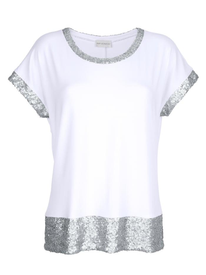 AMY VERMONT Shirt mit Pailletten, Weiß