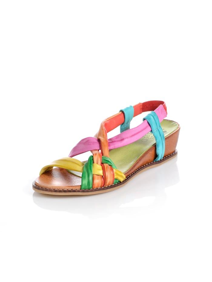 Wedge sandals in a batik design