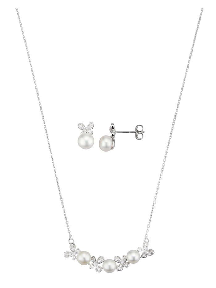 Halsband och pärlörhängen, Vit