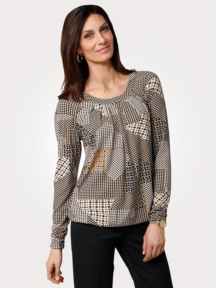MONA T-shirt à motif graphique, Écru/Marron clair/Noir
